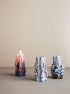 3 stk. Ferm Living, Hand-Curved Candle, Light Blue